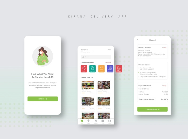 COVID-19 KIRANA DELIVERY APP adobexd app design vegitables household delivery app covid19 app design ux illustration clean ui