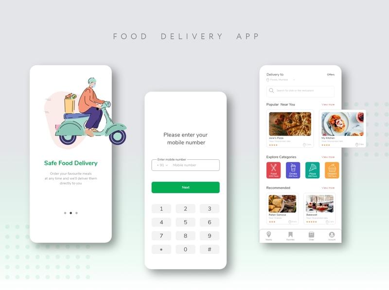 Safe food delivery app covid19 food delivery app food app app design app minimal illustration adobexd web clean branding ui design