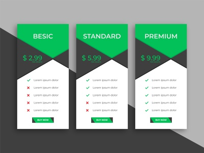 Clean simple pricing table template for website info website chart price interface standard app online subscription basic pricing ux ui sign up infographic design table infographic creative ads business