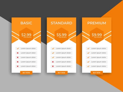 Pricing table template design template banner business infographic design basic subscription standard pricing ux sign up premium pnline user service info price website chart table infographic