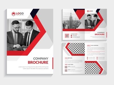 Company profile brochure template design with red color business minimalist page a4 red color bifold brochur brochure creative flyer print graphic design logo branding