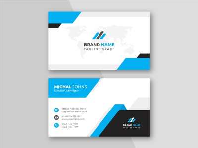 Creative and clean blue business card template. identity clean white simple print template personal card modern minimalist green creative clean style id card card design corporate business card business card graphic design branding