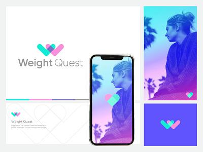 Weight Quest_Logo vector graphic design heart typography branding creative logo blue ui design modern minimalist simple clean interface minimal clean logo simple