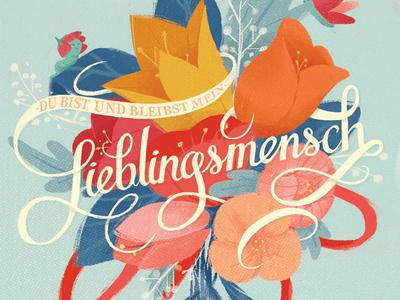 Lieblingsmensch greeting card illustration lettering hand lettering typography flowers lieblingsmensch