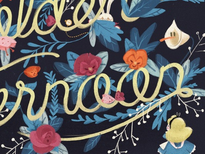 Alice and the Flowers of Wonderland lettering illustration alice rabbit flowers floral alice in wonderland golden afternoon