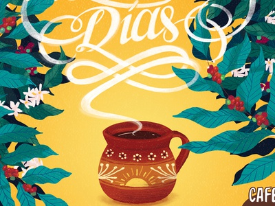 Buenos Días lettering cup coffee coffee tree aroma coffee plant illustration mexican coffee