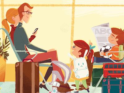 """Hidden objects"" sneak peek waiting room illustration double-decker football kids children airport children illustration hidden objects"