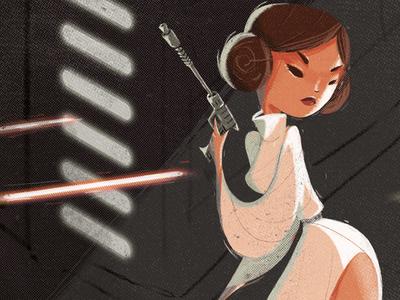 "Princess Leia ""Shoot like a girl"" illustration pinup poster character design princess leia star wars shoot like a girl fan art"
