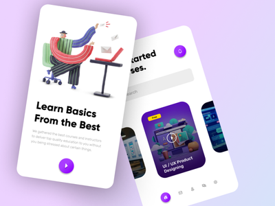 Course App - Learn courses on mobile phone app illustration design ui logo