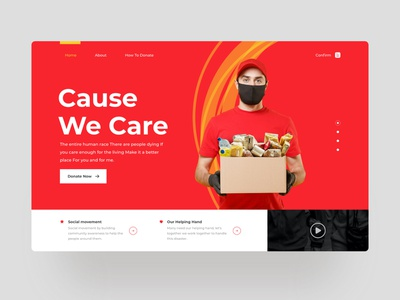 Cause We Care Website Charity charity design web ui