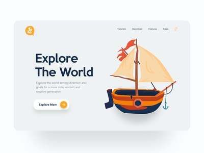 Yoho cute pirate ship branding typography illustration web ui design