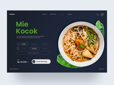 Mie kocok website design order foodie food typography ux web ui design