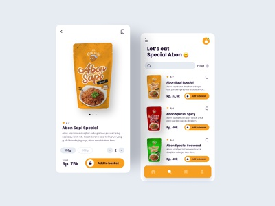 Retail Apps retail beff shared food special orange packaging branding app typography ux ui