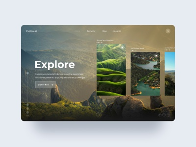 Explore website landing page explore layoutdesign green nature photography web typography ux design ui