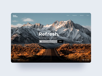 Refresh website for travelling refresh travel nature mountain big typography web ux design ui