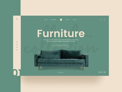 Furniture Collection sofa green furniture photography agency branding typography web ux design ui