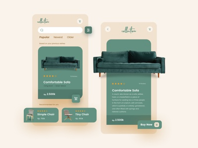 Furniture Retail Apps Collection interface retail design retail green app typography ux design ui