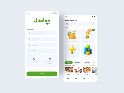 Jualan.Apps DB retail flat icon branding illustration app typography ux design ui