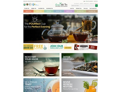 E-Commerce website design and development for Green Hill Tea volusion online store ecommerce shop web design branding ecommrce web design