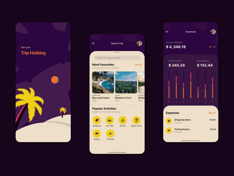 Trip Holiday app sketch file ux illustration iphonex design visual design shot ui