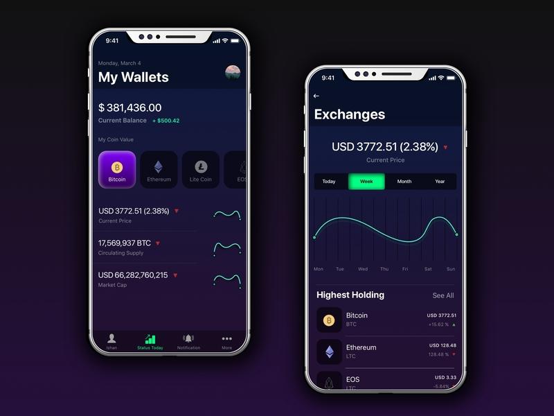 Cryptocurrency App - UI Design ux designer uidesign branding iphonex sketch file design visual design shot ui