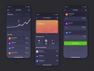 Cryptos -  IOS Mobile App crypto crypto wallet cryptocurrency iphonex app design visual design shot ui