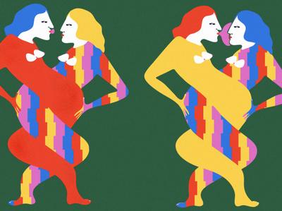 Pop kiss design simple girl editorial illustration photoshop illustration bright colours colour flat illustration flatdesign