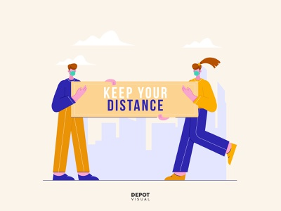 Keep Your Distance | Freebies freebies people medical social distancing prevention vector flat illustration
