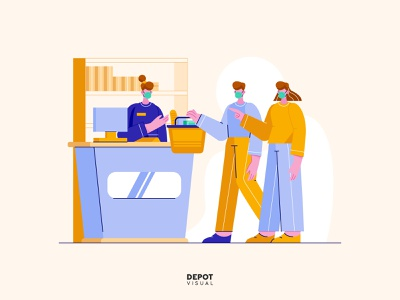 Shopping store payment mall market shopping flat illustration