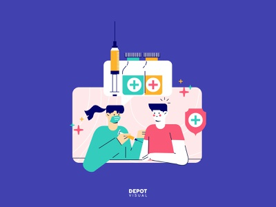 Aw, Vaccination! flat illustration character doctor people medicine vaccination illustration