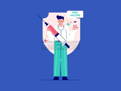 Free Vaccine! medical character healthcare hospital nurse doctor vaccine people illustration
