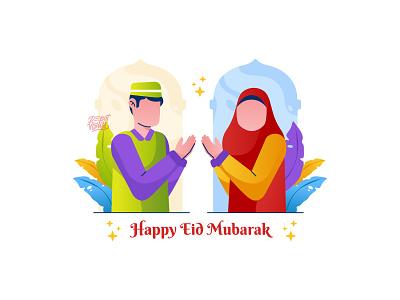 Happy Eid Mubarak! couple happy character people eid mubarak ramadan illustration