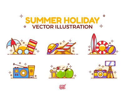 Summer Holiday Activity fun icecream sunbathing sea umbrella beach sun illustration holiday summer