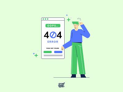 404 Error Page Vector Illustration mobile app business illustration character error page website 404