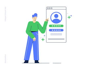 User Account Vector Illustration business ux ui mobile character apps web user illustration