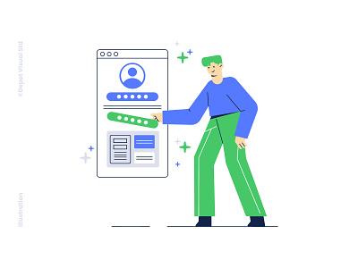 Create User Password Illustration ux security password app ui business people illustration