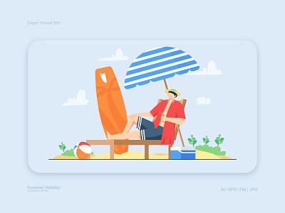 Man Relaxing on the Beach flat illustration vector character man holiday summer ocean beach sea