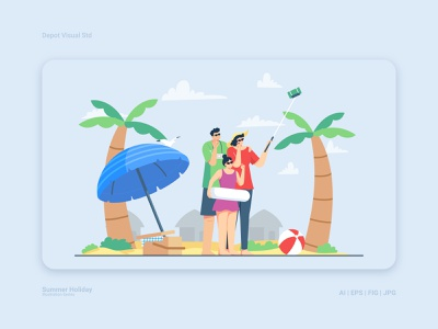 Summer Vacation at the Beach vacation summer people character sun family beach illustration