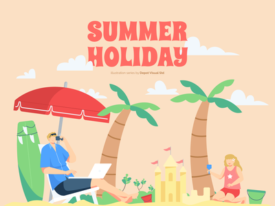 Summer Holiday is On! family character beach sun people holiday summer vacation