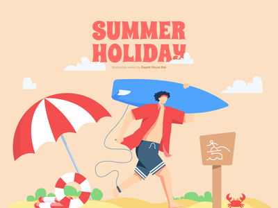 Let's Surf! illustration character people beach surf holiday summer vacation