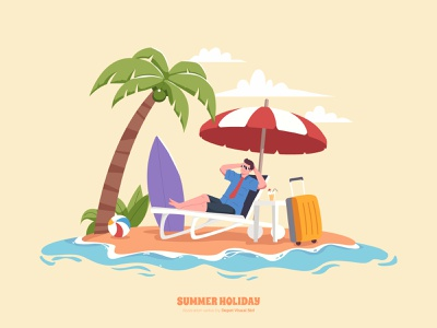 Relax on the beach! nature flat illustration chill character sun relax beach holiday vacation summer
