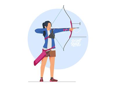 Archery Sport illustration bow character people tokyo olympics sport archer