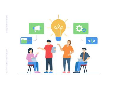 Business Teamwork character ui website idea meeting people startup teamwork business illustration