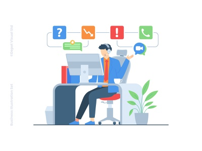Customer Service Illustration people character startup help service customer business illustration