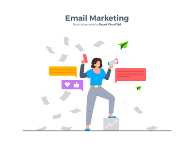 Email Marketing Illustration flat character illustration people startup business mail marketing