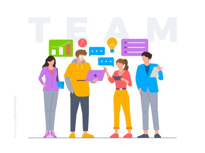 Our Top Team! startup character flat diversity member illustration people business team