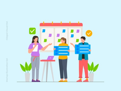 Business Planning analysist character people flat illustration planning business
