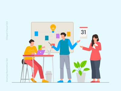 Business Meeting online flat people illustration team office startup meeting business