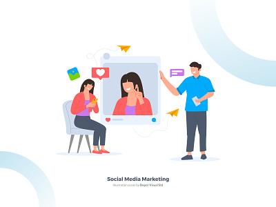 Social Media Marketing Illustration Scene flat startup digital socialmedia marketing business people illustration