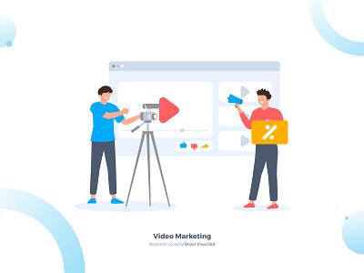 Video Marketing Illustration Scene internet flat business startup digital marketing video people illustration